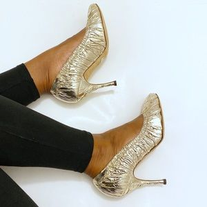 Dolce&Gabbana Metallic Ruched Leather Pumps Size 8
